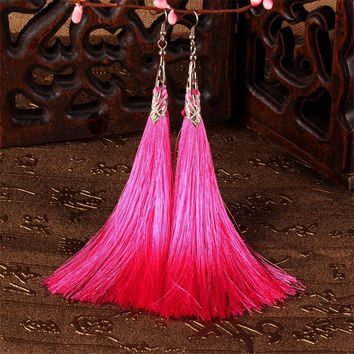 Elegant Tibetan Silver Long Thread Tassels Earrings