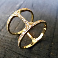 14K Solid Gold Double Ring, Geometric Ring w Clear or Black Cubic zirconia, Double Gold Ring, Two Bar Gold ring.