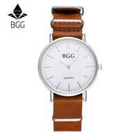Bgg Simple Business Mens Watch 2016 Fashion quartz-watch Genuine Leather Strap Watch Men Clock With Japan Movement Silver Clock