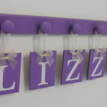 Baby Name Sign Set Includes Matching Five (5) Wooden Hangers in Lilac. Personalized Baby Gifts for LIZZY
