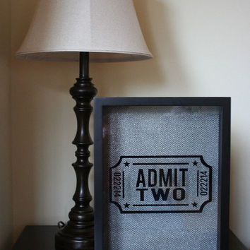 "PREMIUM 11x14"" 'Admit Two' Shadow Box - Anniversary Date Optional"