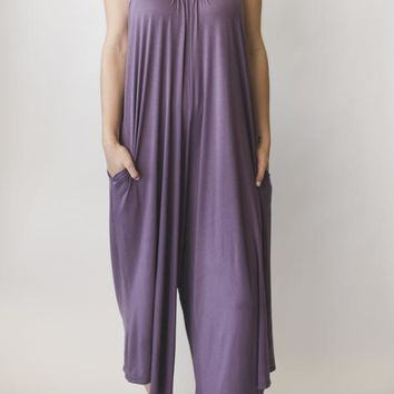 Cropped Wide Leg Jumpsuit - Lavendar