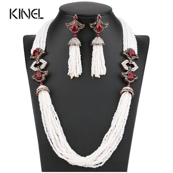 New Arrivals African Beads Jewelry Set 2017 Nigerian Wedding & Engagement Necklace Earring For Women Handmade Indian Jewelry