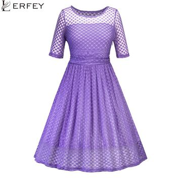 LERFEY Women Dot Polka Lace Dress Vintage A Line Patchwork Pleated Retro Casaul Rockabilly Party Mesh Purple Dresses Vestidos