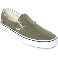 Vans Slip-On Winter Moss Green & White Skate Shoes | Zumiez