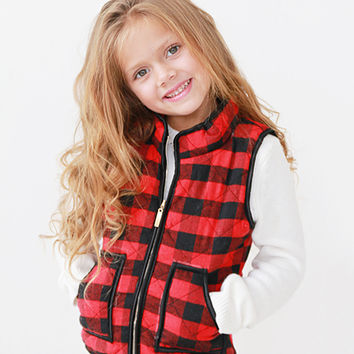 Red & Black Buffalo Check Wool-Blend Vest - Girls