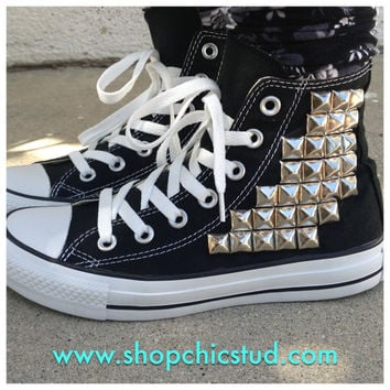 Studded Chuck Taylor ANY SIZE Converse All Stars Hi Top Black 0d2aef641