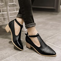 Covered T Straps Sandals Low Chunky Heels 2443