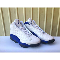 2018 New Air Jordan retro 13 shoe Olive Hyper Royal Blue Mens basketball shoes Trainer Sneakers US 5.5-13