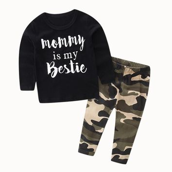 2017 Spring Autumn Casual Toddler Kid Baby Boy Set Clothes Letter Print Longe Sleeve Tops +Camouflage Pants Outfits Set