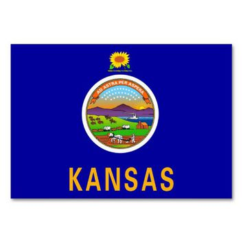 Patriotic table card with Flag of Kansas