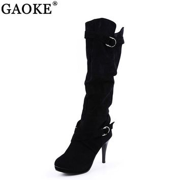 Thigh High Women's Winter Boots Faux Suede Leather High Heels Over The Knee Boots Women Plus Size Shoes Woman Boots