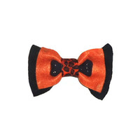 Black Orange Felt Bow Hand Sculpted Black Clay Bone Halloween Creepy Hair Bow