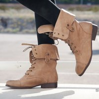 DbDk Sharper-9 Fold Over Cuff Combat Boot (Taupe) - Shoes 4 U Las Vegas