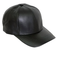 Black Leather Adjustable Baseball Cap Hat Made in USA