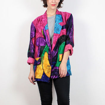Vintage Picasso Jacket 1980s Blazer Jacket Bright Rainbow Pink Purple Art Print Jacket 80s New Wave Color Block Cubist Coat L Extra Large XL