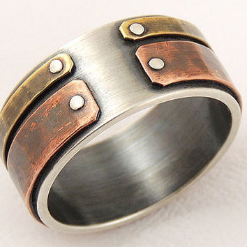 Unique mens wedding band - mens engagement ring,silver and copper,men anniversary gift,unique mens ring
