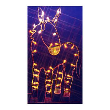 "47"" Donkey Nativity Silhouette Lighted Wire Frame Christmas Yard Art Decoration"