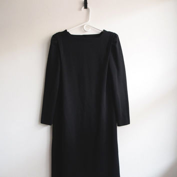 Union Made Leslie Fay 80s Long Black Grunge Dress with Back Buttons