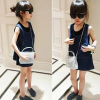 New Children Summer Girls Denim Suspenders Dress With Personalized Pockets 5 pcs/lot Baby Girls Fashion Denim Sundress Kids Dress