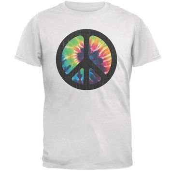 ONETOW Tie Dye Peace Sign Distressed Halftone Mens T Shirt