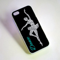 Glitter Dancer Monogrammed iPhone Case - tiffany blue