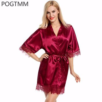 Wedding Dressing Gown Women Short Satin Bride Robe Lace Silk Kimono Bathrobe Summer Bridesmaid Nightwear Plus Size Peignoir