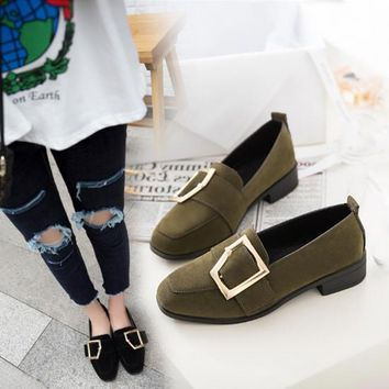 Women All-match Casual Fashion Belt Buckle Square-toe Chunky Mid Heel Loafer Shoes Tods
