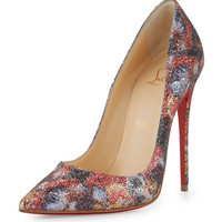Christian Louboutin So Kate Glitter Print Red Sole Pump, Multi
