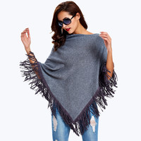 Poncho Swing Women Sweater Fashion Casual Shawl Knitted Pullover Batwing Oversize Female Warp Sweaters
