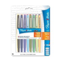 Papermate Point Guard Flair Porous Point Stick Pens, Assorted Ink, Medium Point, 16 per Pack, ST - PAP70644