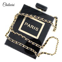 2017 New Female Casual Handbags Small Tote PARIS Pattern Party Evening Bags Quality Acrylic Perfume Bottle Clutch Bags