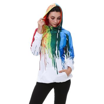 Gamiss Oil Painting 3D PRINT HOODIE Punk Women Sweatshirts Hoodies Casual Kangaroo Pocket Raglan Sleeve Coats Long Sweatshirts