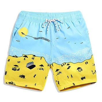 Beach Printing Men's Swimming Trunks for Bathing plus size swimwear men swimwear boxers patchwork color hot sell Summer