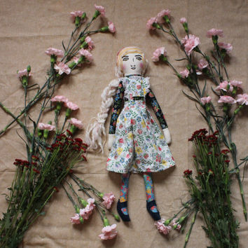Heirloom Rag Doll with Lace Floral Liberty Dress and Shoes - Cloth Art Doll by Wildflower Dream Dolls