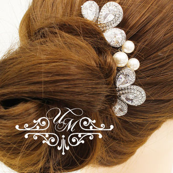Wedding Accessories Wedding Headpiece Zirconia Teardrop Hair comb Bridal Hair comb Bridal Hair pins Wedding Hair Comb - CARI TIFFANIE