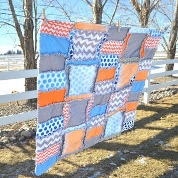 Custom Rag Quilt in Gray, Blue and Orange, Baby Crib Quilt Size, Made to Order