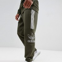 adidas Originals Outline Jersey Joggers In Green DH5792 at asos.com