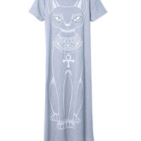 Grey Cat Print Short Sleeve Asymmetric Hem Midi Dress