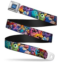 Monsters University Logo Full Color Blue White Monsters University Monsters Seatbelt Belt Standard