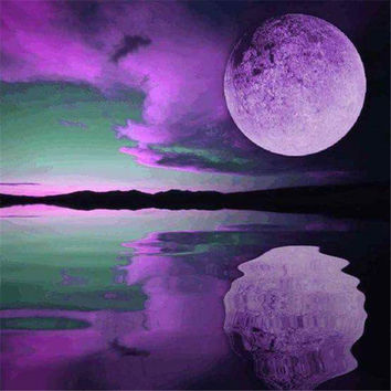 5D diamond embroidery diamond mosaic Purple moonlight at dusk  diamond painting canvas