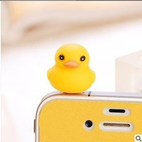 Fashion Cute Yellow Duck Dust Plug for iPhone 4 4s 5 5s = 1651105476
