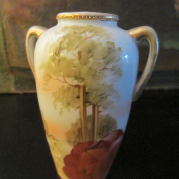 Nippon Japan Porcelain Hand Painted Scenic Vase Gilt Decorated