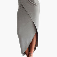 Gray Asymmetrical Wrap Maxi Skirt