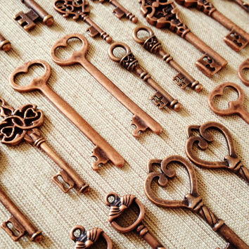 VACATION SALE Keys to the Kingdom - Skeleton Keys - 36 x Vintage Keys Antique Copper Skeleton Key Old KEys Skeleton Keys Set