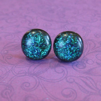 Emerald Green Earrings, Dichroic Earrings, Hand Crafted Jewelry, Earring Jewelry - Lucia - 1931 -3