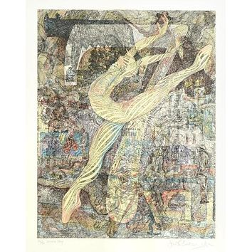 Seven - Limited Edition Hand Colored Etching on Paper by Guillaume Azoulay