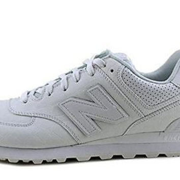 New Balance Men's 574 Classic White/Croc Leather Running Sneakers size 12