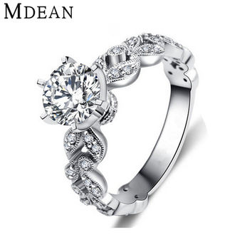 MDEAN Wedding rings for women white gold plated engagement CZ Diamond Jewelry luxury bague bijoux romantic accessories MSR097