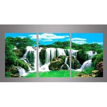 3-Piece Waterfall Landscape Canvas Painting